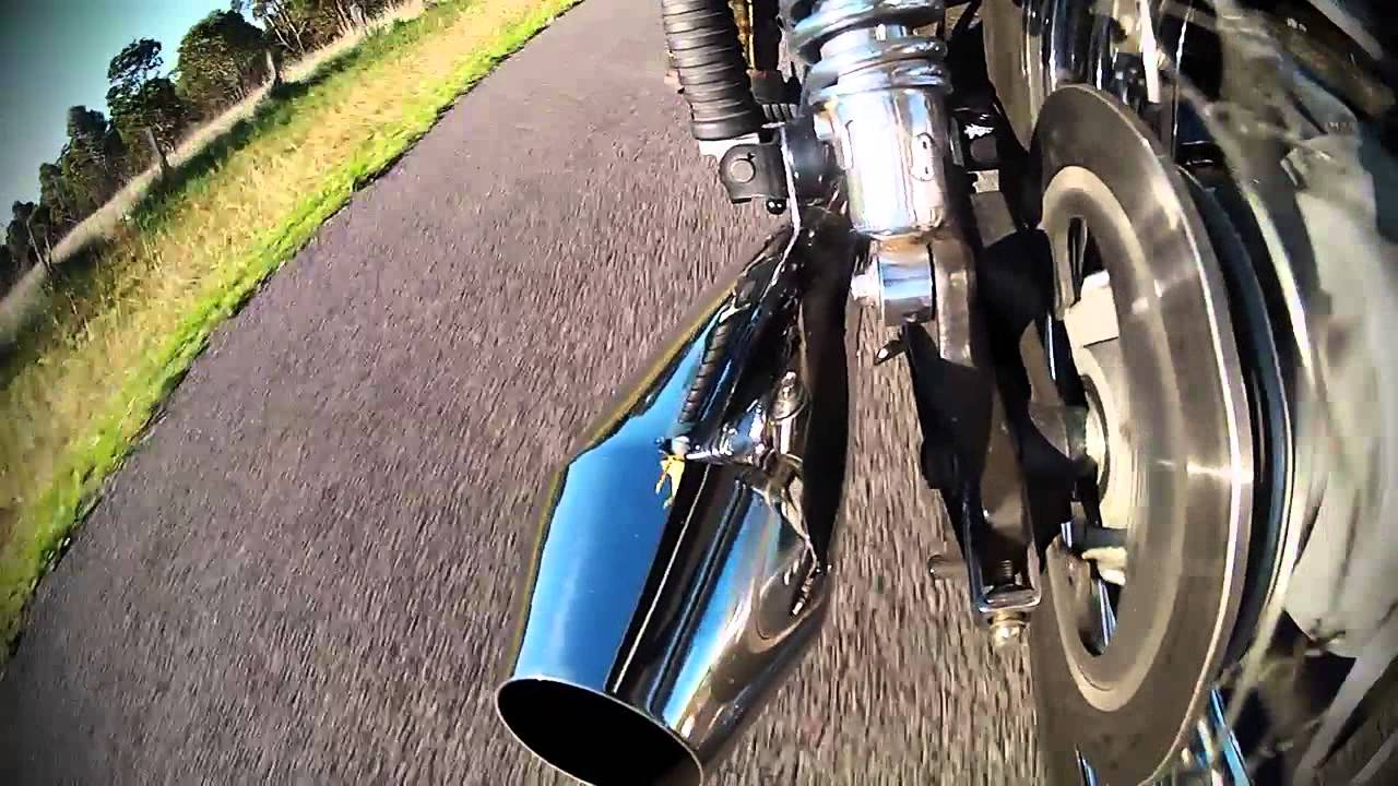 Triumph Bonneville with British Customs Predator Exhaust