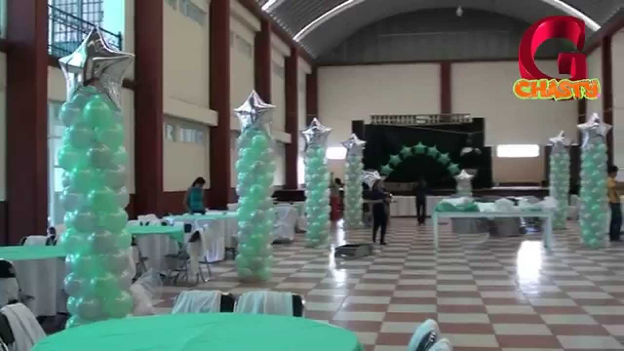 Decoracion 15 a os verde menta y plata youtube - Decoracion columnas salon ...