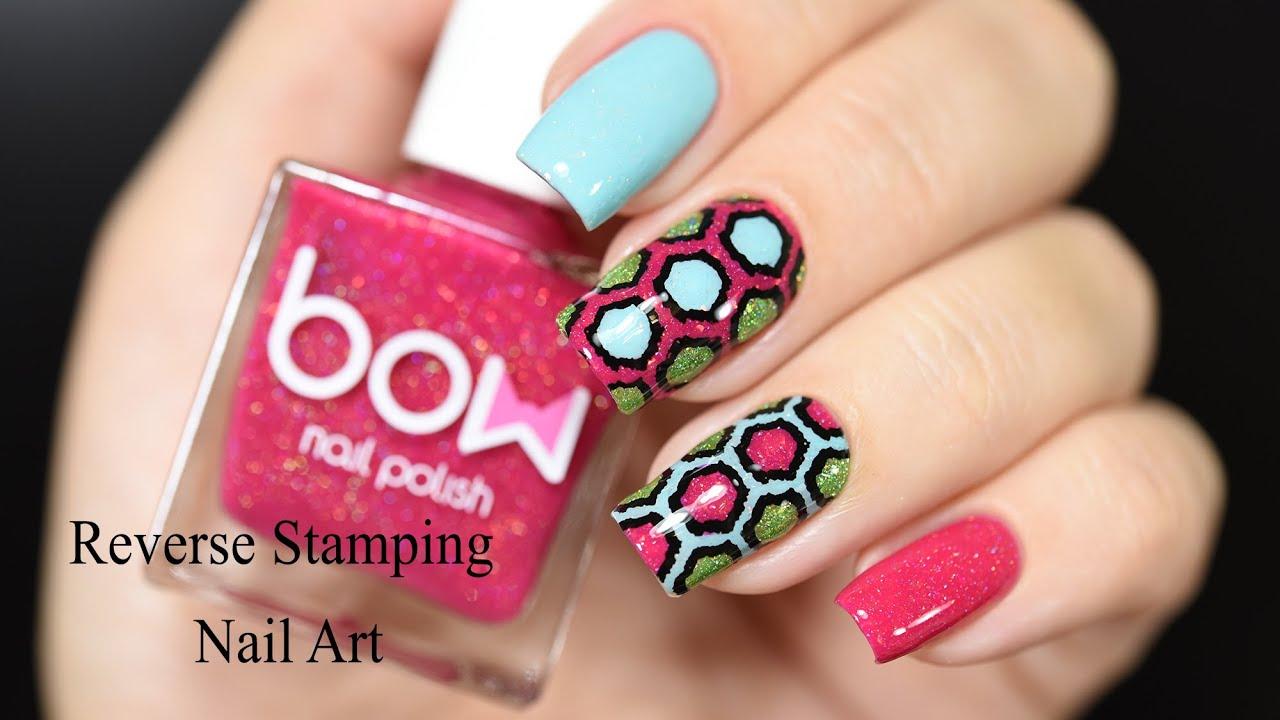 Reverse Stamping Nail Art Tutorial - YouTube