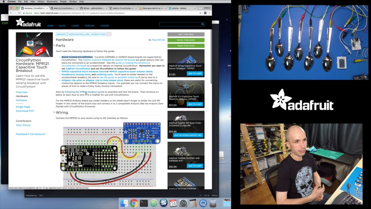 CircuitPython Hardware: MPR121 Capacitive Touch & Electric Spoons with Tony  D!