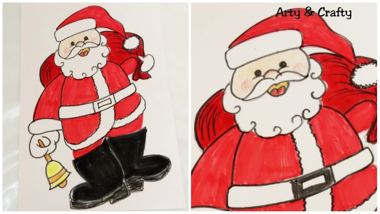 Kids Christmas Drawing How To Draw Easy Santa Claus Step By Step