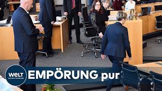 WELT DOKUMENT: Thüringen - Linke-Landeschefin wirft Kemmerich Blumenstrauß vor die Füße