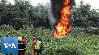 Nigeria Pipeline Explosion in Lagos Sets Creek on Fire