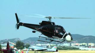 Eurocopter AS 350 B1 Ecureuil (HA-ECU) helicopter takeoff-landing / film shooting