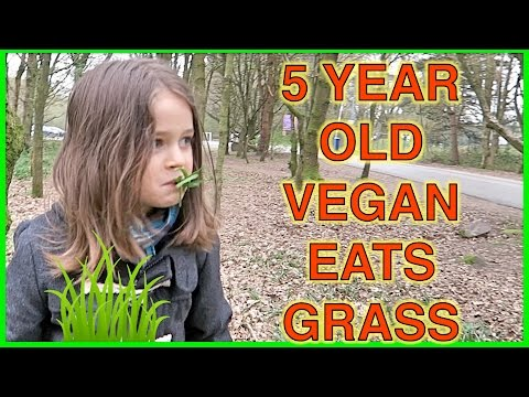 VEGAN KID EATS GRASS!!