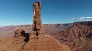 Castleton Tower droned near Moab, Utah