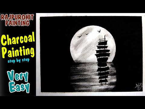 Charcoal Painting of Moonlight night sky with a lonely ship on ocean