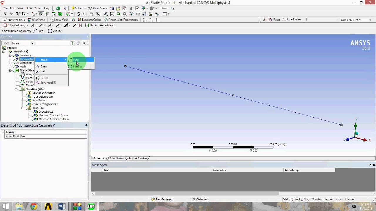 Bending Moment Diagram For Simply Supported Beam Human Eye Simple Cantilever In Ansys