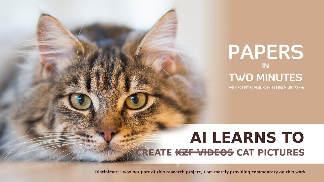 AI learns to Create  ̵K̵Z̵F̵ ̵V̵i̵d̵e̵o̵s̵ Cat Pictures: Papers in Two Minutes #1