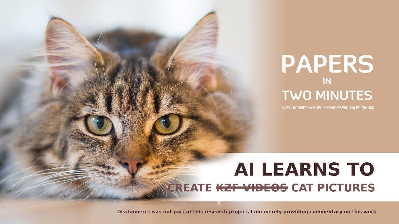 AI learns to Create  ̵K̵Z̵F̵ ̵V̵i̵d̵e̵o̵s̵ Cat Pictures: Papers in Two Minutes #1