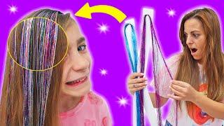 Nos ponemos cabello magico glitter a Gisele y Claudia