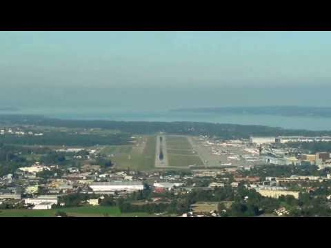 COCKPIT VIEW OF APPROACH AND LANDING AT GENEVA COINTRIN AIRPORT RWY 05