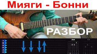 �������� ���� Мияги (MiyaGi) - Бонни. Разбор на гитаре с табами (БЕЗ БАРРЭ) ������