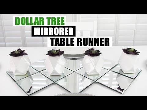 DIY DOLLAR TREE MIRRORED TABLE RUNNER DIY Dining Table Home Decor