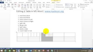 Learn How To Edit Table In MS Word
