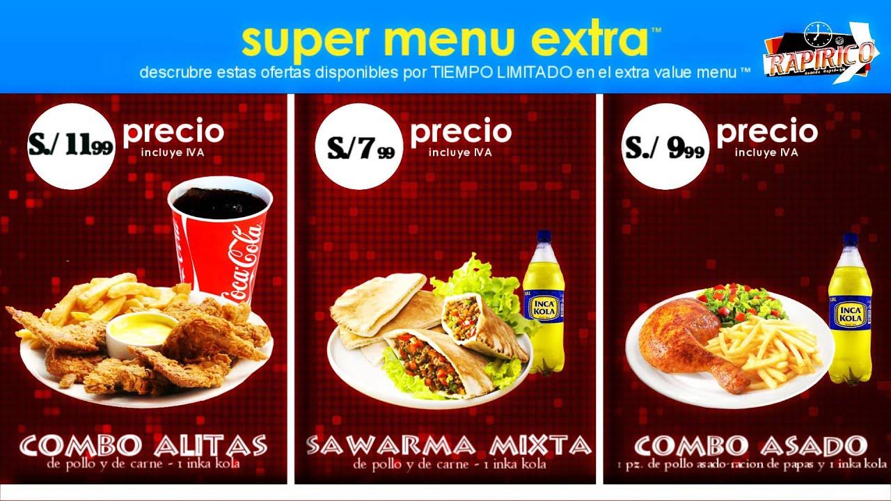 Comida rapida menu muestra youtube for Menu para comida familiar