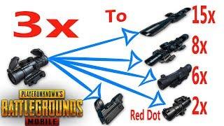Convert 3x Scope To 15x 8x 6x 4x 2x &  Red Dot | Insane Glitch | PUBG Mobile