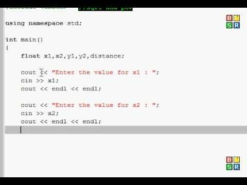 C++ Exercise 5 - distance formula