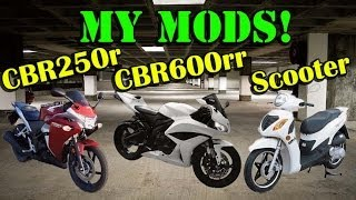 MY MODS - Honda CBR600rr CBR250r Chinese Scooter - Every Mod I