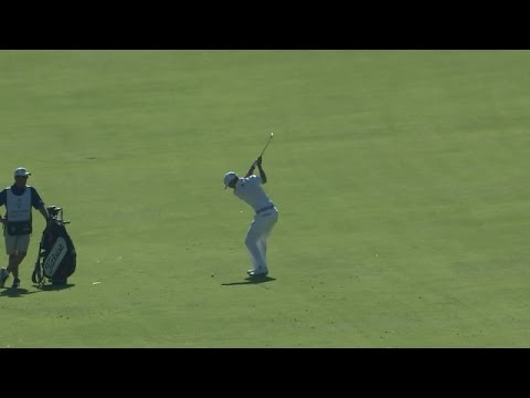 Tyrone Van Aswegen throws a dart on No. 18 at Northern Trust