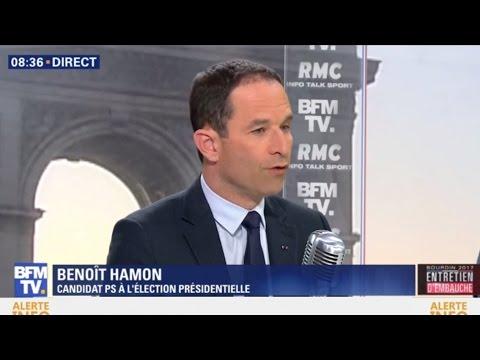 Benoît Hamon était l'invité de Jean-Jacques Bourdin sur BFMTV et RMC le 21/04/2017