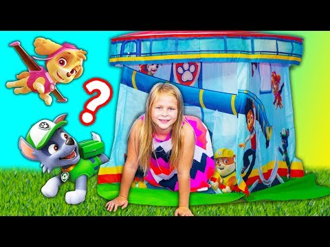 PAW PATROL Surprise Tent With PJ Masks + Puppy Dog Pals Inflateable Bounce Toys Video