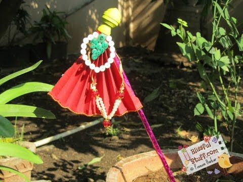 DIY how to make small Gudi/ portable Gudi for gudi padwa, Lightweight paper Quilled gudi