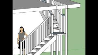 3-d модель деревянной лестницы с поворотом в 90 градусов и площадкой