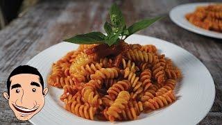 Pasta with Pancetta  Pasta with Italian Bacon and Tomato Basil Sauce  Italian Food Recipes