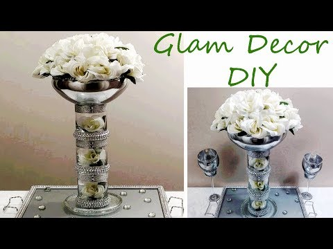Dollar Tree DIY Tall Glam Bling Wedding Centerpiece