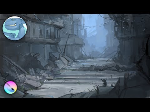 Ruins of the city. Speed painting with Krita.