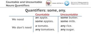 Видеоурок по теме: Countable and Uncountable Nouns Quantifiers.