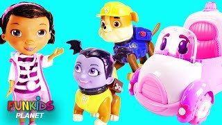 Vampirina Wrong Heads with Paw Patrol Doc McStuffins & Rosie to The Rescue Ambulance