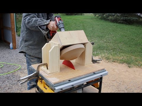 Turning a wooden bowl on a Table Saw!  INCREDIBLE!