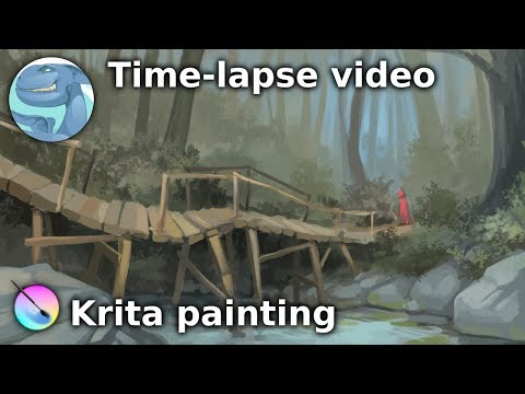 Forest landscape with a wooden bridge. Speed painting with Krita.