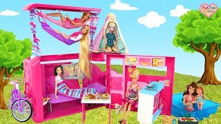 Barbie Sisters Pink Camper Unboxing Setup! New doll Tent! boneka Barbie kemping Boneca Campista