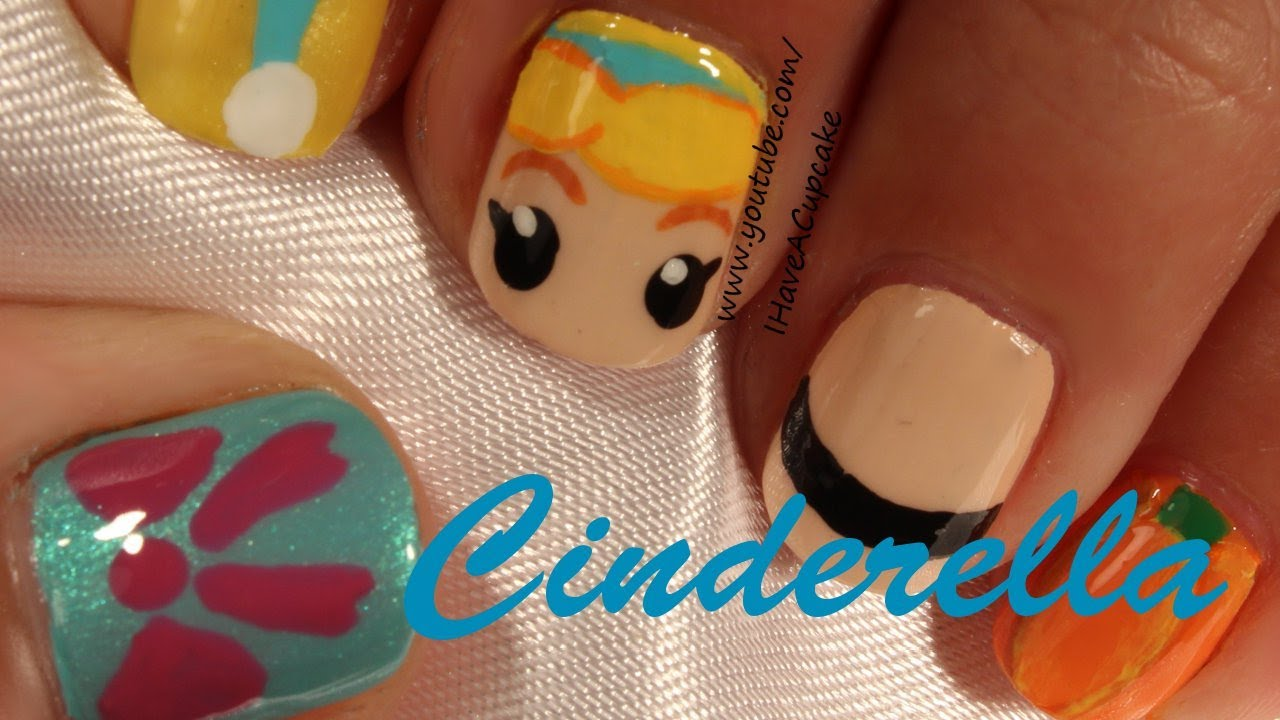 Cinderella Inspired Nail Art - Cinderella Inspired Nail Art - YouTube