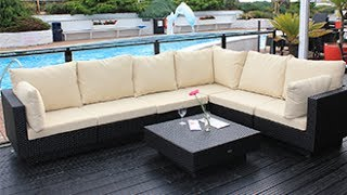 Cozy Bay Chicago Rattan Sofa Set - All Weather Wicker Garden Furniture