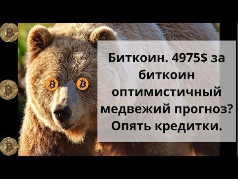 Биткоин. 4975$ за биткоин оптимистичный медвежий прогноз? Опять кредитки. Биткоин доллар курс
