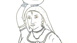 How to draw a Panihari! Tutorial of rajasthani panihari