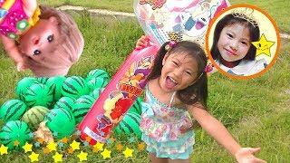 メルちゃん おもちゃ 外遊び スイカ割りごっこ お出かけ 公園 シャボン玉 滑り台 スイカの名産地 ビーチボール