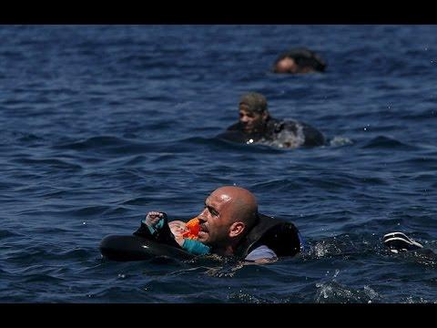 Heartbreaking images 34 refugees drown after boat sank off greek island