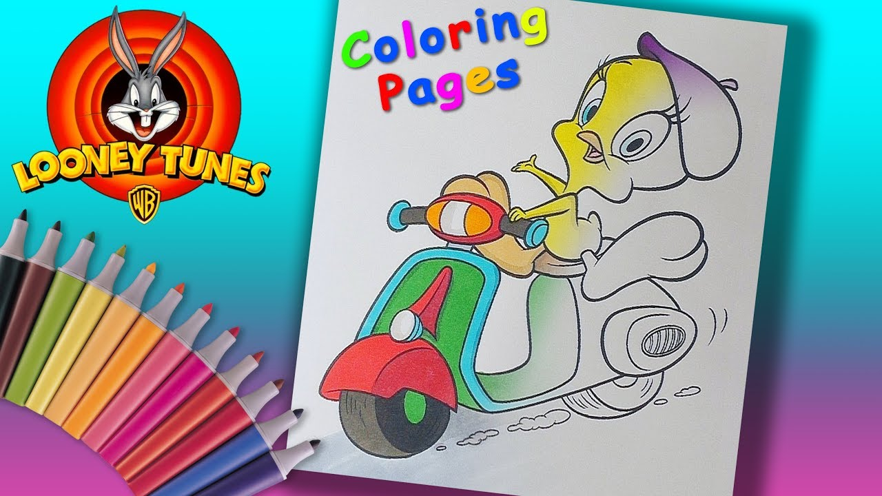 Tweety Bird On A Moped Coloring Page Looney Tunes Coloring Book For