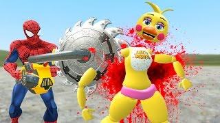 spiderman kills toy chica gmod fnaf sandbox funny moments garry s mod