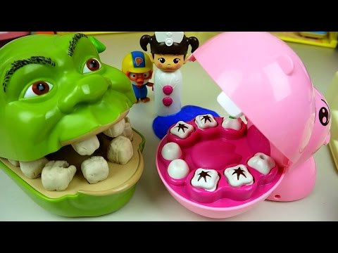 Shrek Play-Doh and Dr. Baby doll dental clinic with Pink HiPPO