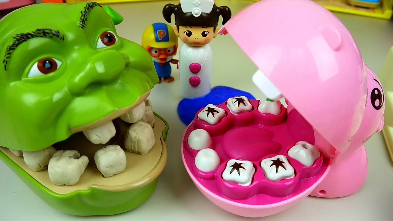 Shrek Play Doh And Dr Baby Doll Dental Clinic With Pink