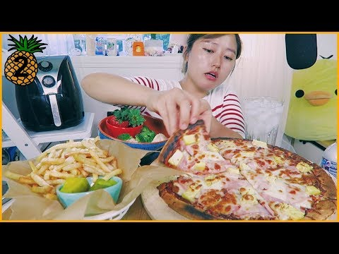 Hawaiian Pizza With Garlic French Fries Cooking & Mukbang
