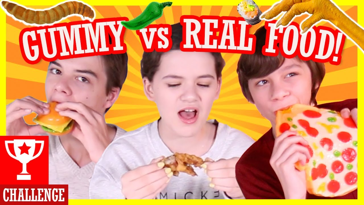Gummy Vs Real Food Challenge Hot Peppers Worms Gross