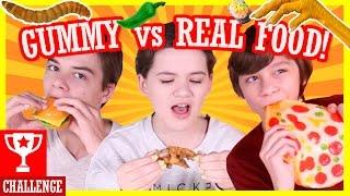 GUMMY vs REAL FOOD CHALLENGE!   HOT PEPPERS! WORMS! GROSS!      KITTIESMAMA
