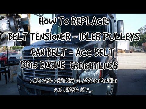 Freightliner Cascadia DD13 DD15 belt tensioner fan belt idler pulleys a/c  replacement